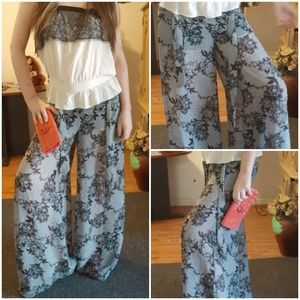 Harem Black sheer lace print pattern pants S/M B2